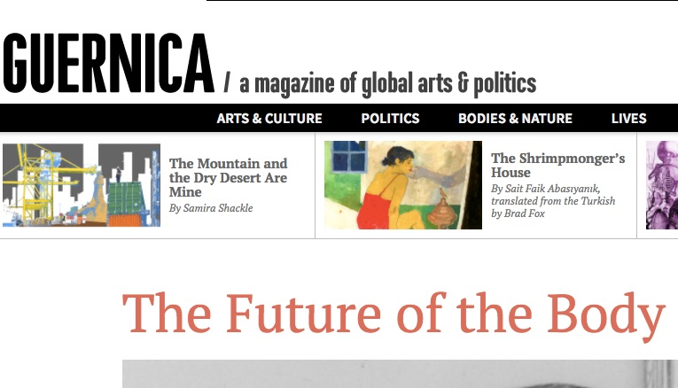 The masthead for Guernica's Future of the Body issue.